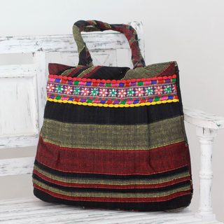 Handcrafted Cotton 'Midnight Glow' Shoulder Bag (India)
