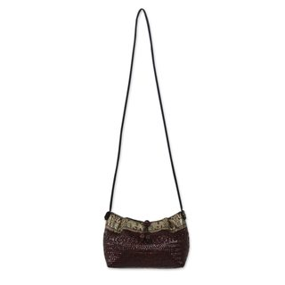Natural Fibers Cotton 'Brown Siam Parade' Shoulder Bag (Thailand)