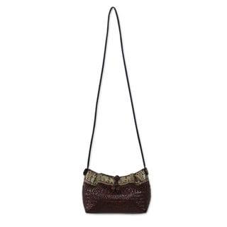 Handmade Natural Fibers Cotton 'Brown Siam Parade' Shoulder Bag (Thailand)