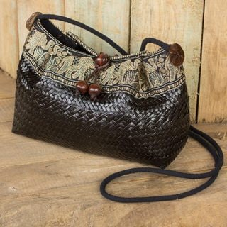 Natural Fibers Cotton 'Black Siam Parade' Shoulder Bag (Thailand)