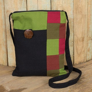 Cotton 'Lanna Rhythm in Black' Shoulder Bag (Thailand)