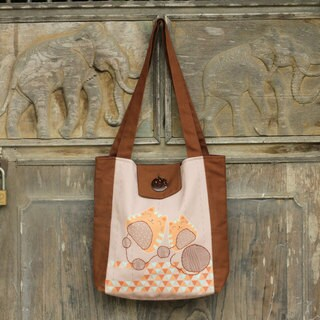 Cotton 'Cheerful Kitties' Shoulder Bag (Thailand)