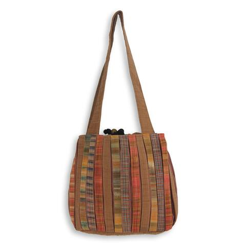 Handmade Cotton 'Oriental Brown' Shoulder Bag (Thailand)