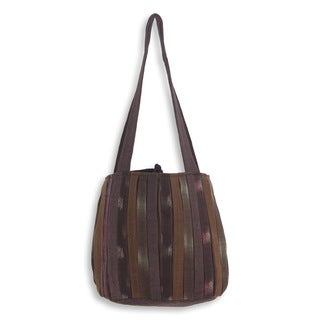 Handcrafted Cotton 'Oriental Dark Brown' Shoulder Bag (Thailand)