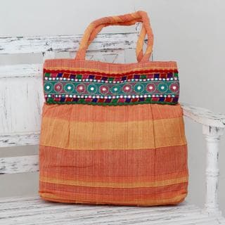 Handcrafted Cotton 'Sunset Muse' Shoulder Bag (India)
