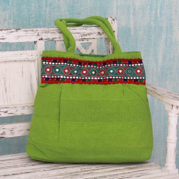 Handcrafted Cotton 'Lime Delight' Shoulder Bag (India)