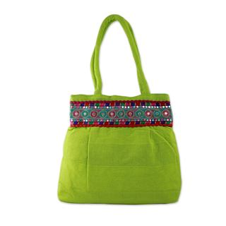 Handcrafted Cotton 'Lime Delight' Shoulder Bag (India)