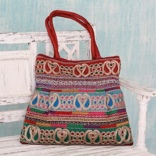 Embroidered 'Festively Red' Shoulder Bag (India)