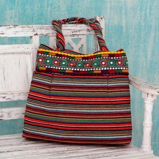 Handcrafted Cotton 'Rainbow Dreams' Shoulder Bag (India)