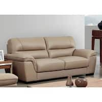 Luca Home Beige Leather Contemporary Sofa