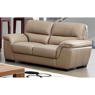 Luca Home Beige Leather Contemporary Loveseat