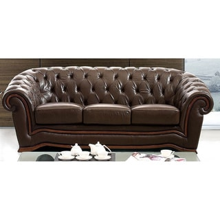 Luca Home Brown Italian Leather Rhinestone Sofa