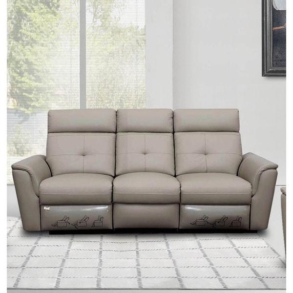 Luca Home Light Grey Contemporary Manual Reclining Sofa