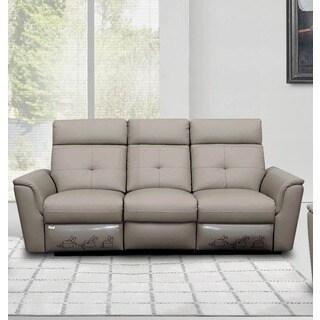 Luca Home Grey Leather Contemporary Sofa
