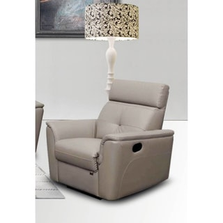 Luca Home Grey Italian Leather Contemporary Chair
