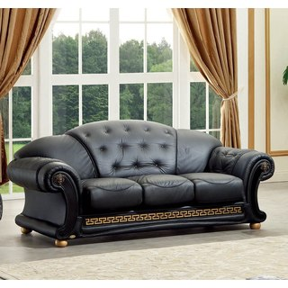 Luca Home Black Italian Leather Classic Contemporary Sofa