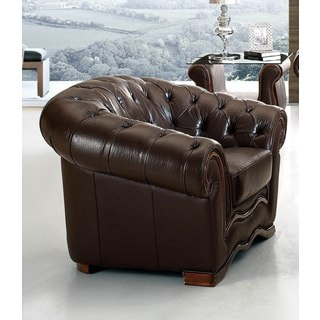 Luca Home Brown Italian Leather Rhinestone Chair