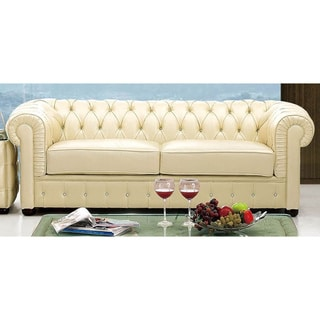Luca Home Ivory Italian Leather Sofa