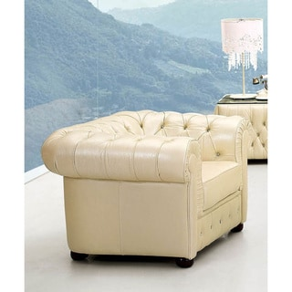 Luca Home Ivory Italian Leather Chair