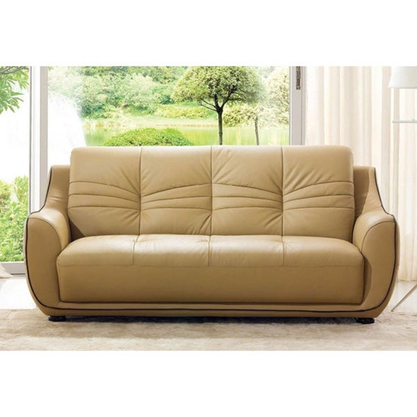 Luca Home Cappuccino Italian Leather Sofa