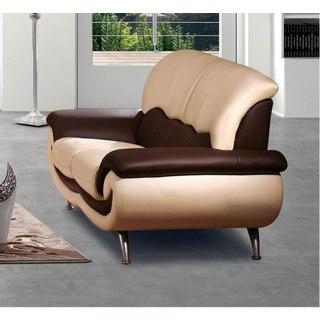 Luca Home Beige/Brown Italian Leather Loveseat