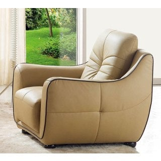 Luca Home Cappuccino Italian Leather Chair