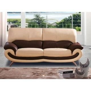 Luca Home Beige/Brown Italian Leather Sofa