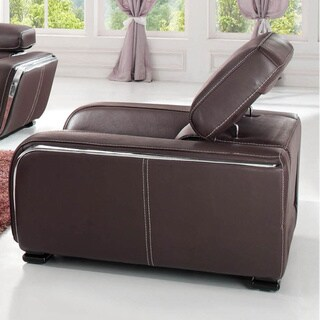 Luca Home Contemporary Chocolate Italian Leather Chair