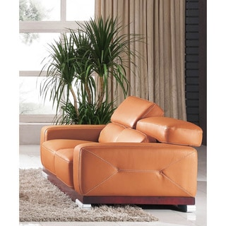 Luca Home Contemporary Honey Italian Leather Loveseat