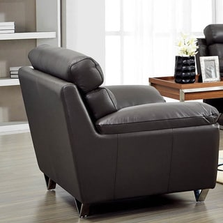 Luca Home Contemporary Grey Italian Leather Chair