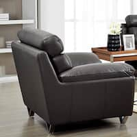 Luca Home Contemporary Grey Leather Match Chair