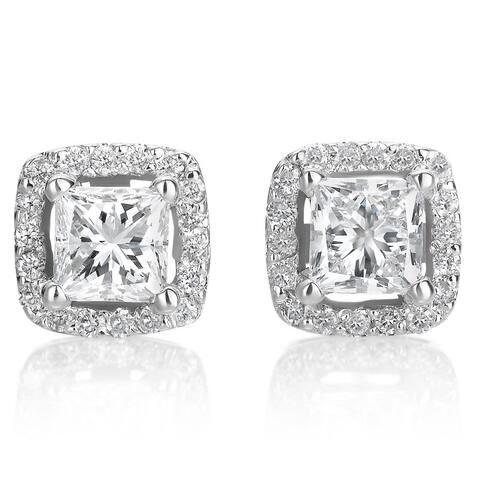 SummerRose 14k White Gold 1ct TDW Princess-Cut Dimond Halo Stud Earrings