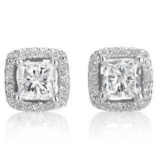 SummerRose 14k White Gold 1ct TDW Diamond Halo Princess Stud Earrings