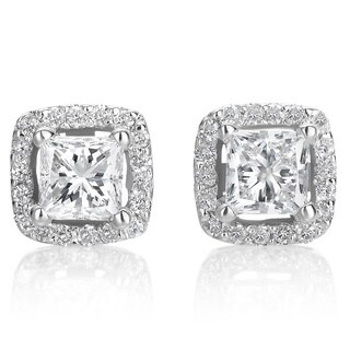 SummerRose 14k White Gold 1ct TDW Princess-Cut Dimond Halo Stud Earrings