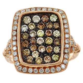 14k Rose Gold 1 1/2ct TDW Yellow and White Diamond Square Ring