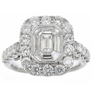 14k White Gold 2 2/5ct TDW Diamond Square Ring
