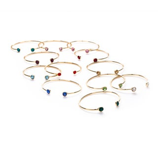 Isla Simone 14k Gold-plated Birthstone Crystal Bangle Bracelet