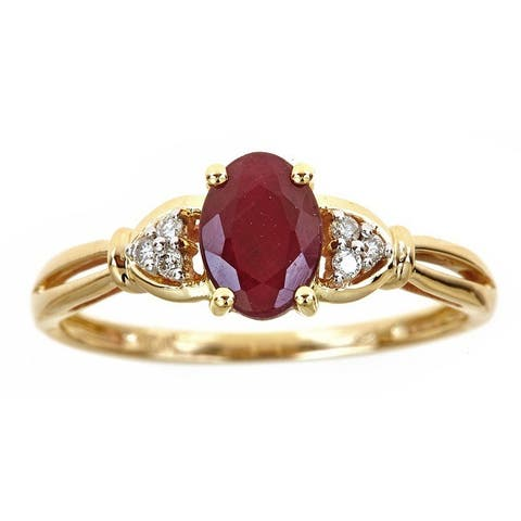 Anika and August 10k Yellow Gold Oval-cut Ruby Diamond Accent Ring