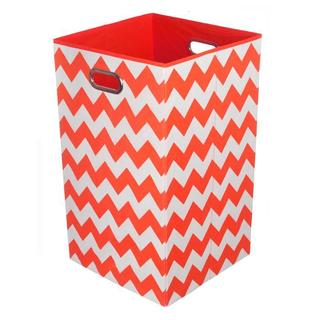 Bold Red Chevron Folding Laundry Basket