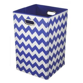 Bold Blue Chevron Folding Laundry Basket