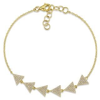 Miadora 14k Yellow Gold Diamond 1/3ct TDW Diamond Signal Bracelet