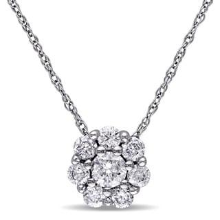 Miadora 10k White Gold 1/2ct TDW Diamond Cluster Necklace