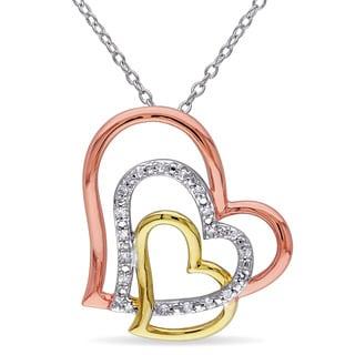Miadora Tri-color Sterling Silver 1/10ct TDW Diamond Triple Heart Necklace (G-H, I2-I3)