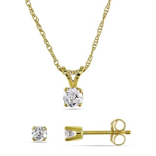 Miadora 14k Yellow Gold 2/5ct TDW Diamond Necklace and Earrings Set