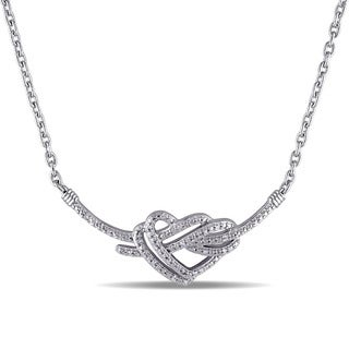 Miadora Sterling Silver 1/10ct TDW Diamond Heart Necklace (G-H, I2-I3)
