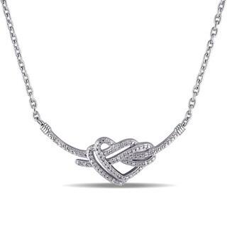 Miadora Sterling Silver 1/10ct TDW Diamond Heart Necklace