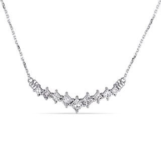 Miadora Signature Collection 14k White Gold 1ct TDW Princess-cut Diamond Necklace (G-H, I1-I2)