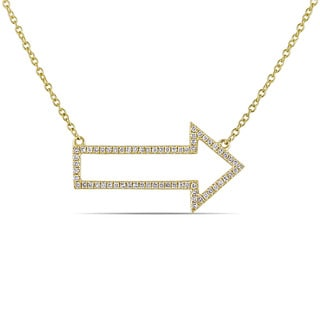 Miadora 14k Yellow Gold 1/5ct TDW Diamond Arrow Necklace