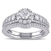 Miadora Signature Collection 14k White Gold 1 1/8ct TDW Diamond Bridal Ring Set