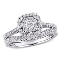 Miadora Signature Collection 10k White Gold 5/8ct TDW Diamond Halo Bridal Ring Set (G-H, I1-I2)